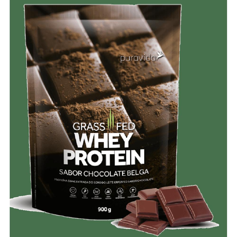 9c7d7e206 Whey Protein Grassfed Chocolate Belga 900g PuraVida - emporioquatroestrelas
