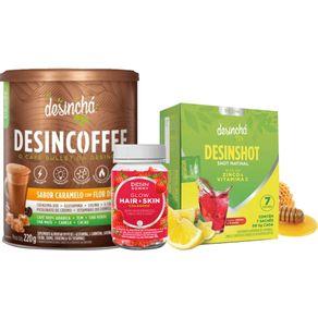 Desincha-Kit-Booster-Desincoffee-Caramelo-com-Flor-de-Sal----Desinshot-7-Dias---Desin-Gummy-Hair-Skin-Glow